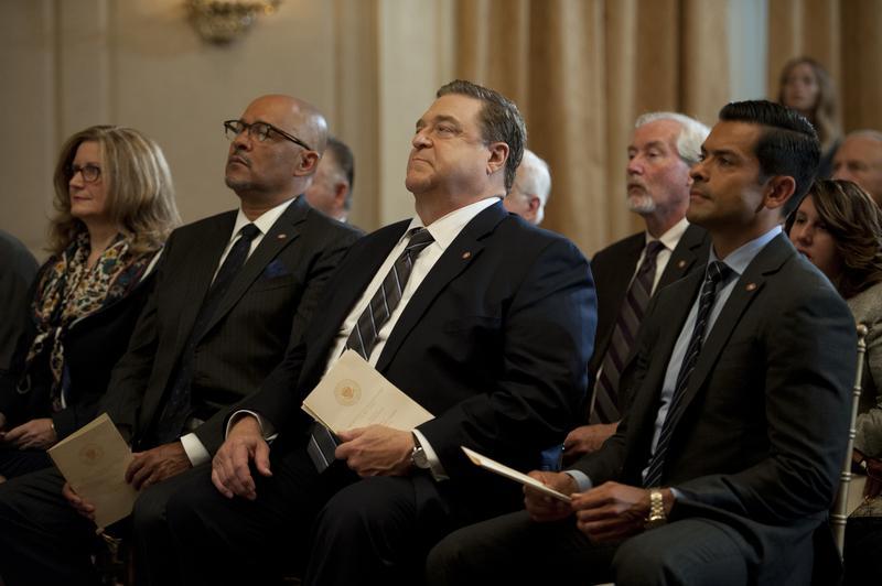 Clark Johnson, John Goodman, and Clark Johnson in Garry Trudeau's <em>Alpha House</em>