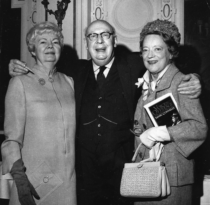 "Playwright, Marc Connelly, celebrates publication of his memoirs, ""Voices Offstage"" with actresses Margalo Gillmore (left) and Peggy Wood, three members of the original Algonquin Round Table."