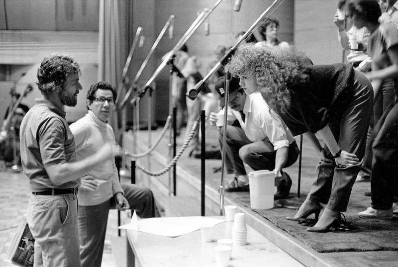 Bernadette Peters, Stephen Sondheim, left, and producer of the album Thomas Z. Shepard at the RCA Recording Studio in New York City, June 1984