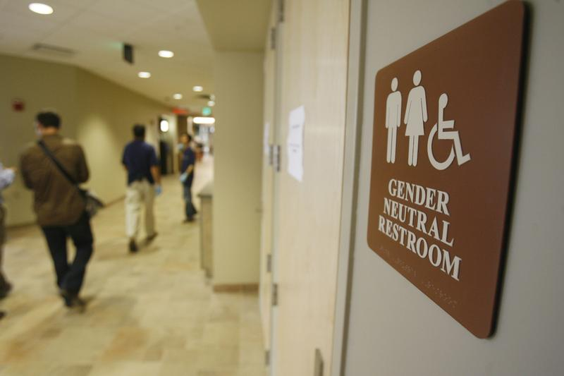 A sign marking a gender neutral bathroom at the University of Vermont