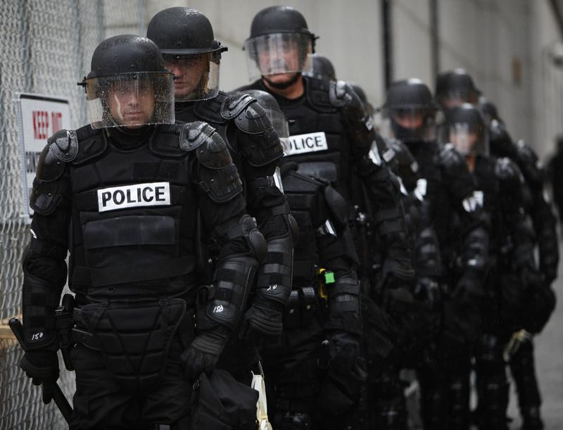 Police officers in riot gear are seen in Pittsburgh, Tuesday, Sept. 22, 2009. The two-day G-20 Summit is scheduled to occur in Pittsburgh Sept. 24 and Sept. 25.