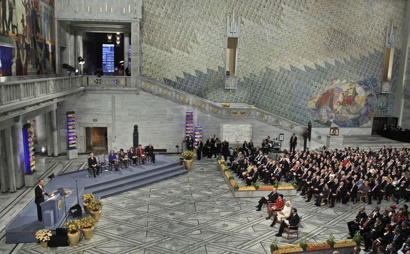 The Nobel Peace Prize ceremony at City Hall in Oslo, Thursday, Dec. 10, 2009.
