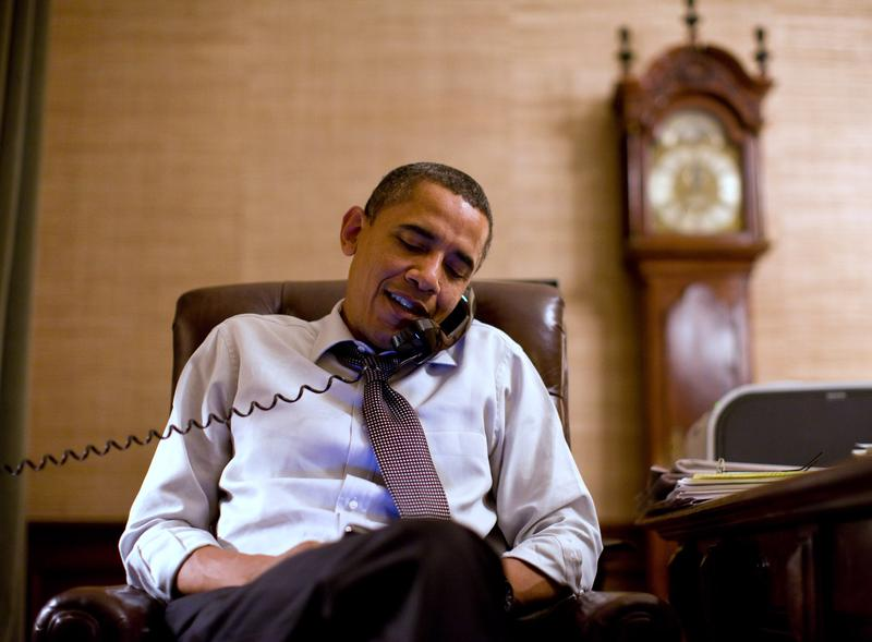 In this image released by the White House, President Barack Obama makes an election night phone call to Rep. John Boehner, R-Ohio, from the Treaty Room. November 2, 2010.