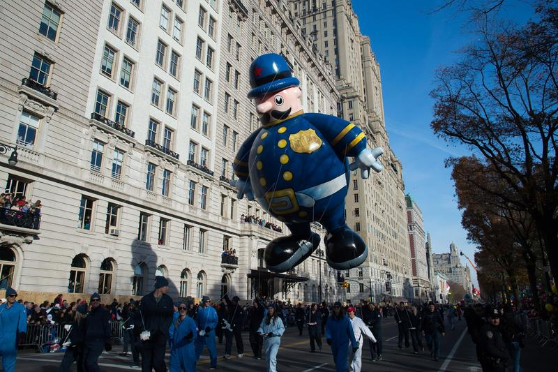 The NYPD balloon floats in the Macy's Thanksgiving Day Parade on Thursday Nov. 26, 2015, in New York.