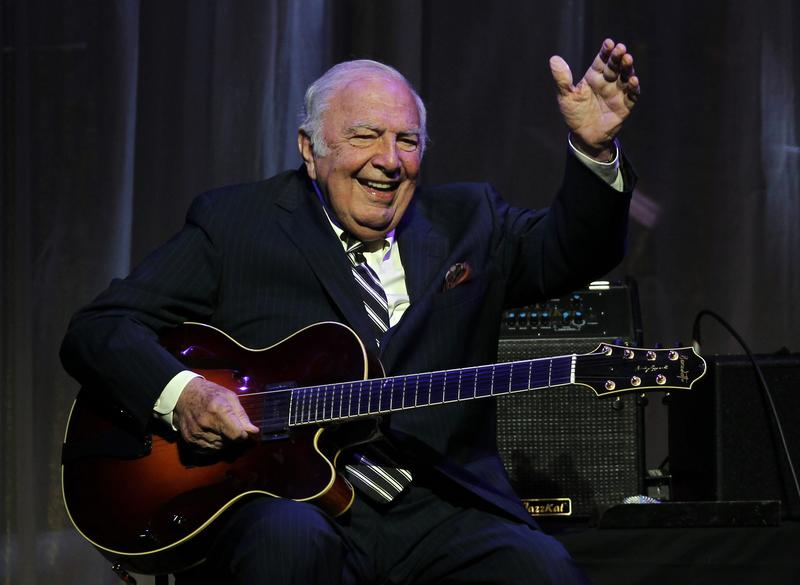 """John """"Bucky"""" Pizzarelli performs after being inducted into the New Jersey Hall of Fame 2011"""