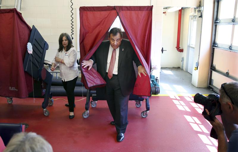 New Jersey Gov. Chris Christie steps from a booth after voting at Brookside Engine Company 1 firehouse in the state's primary election, Tuesday, June 7, 2016.