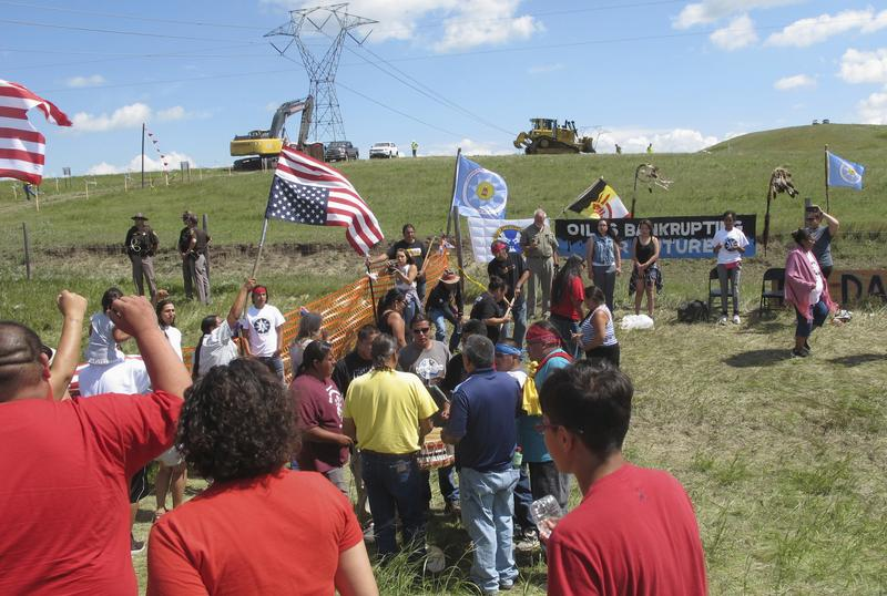 A group of Native Americans protest the Dakota Access pipeline, a month before a federal judge denied the attempt to permanently halt its construction.