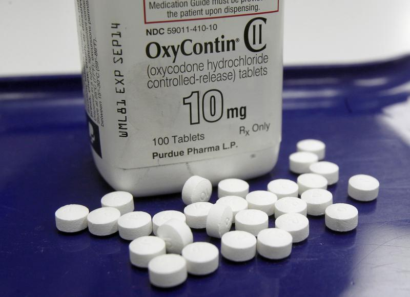 This Feb. 19, 2013, file photo, shows OxyContin pills arranged for a photo at a pharmacy in Montpelier, Vt., a location enduring the opioid drug epidemic.