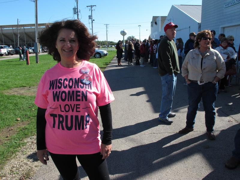 Donald Trump supporter Jean Stanley says she is standing by the Republican presidential nominee despite lewd comments caught on tape. Saturday, Oct. 8, 2016, in Elkhorn, Wis.