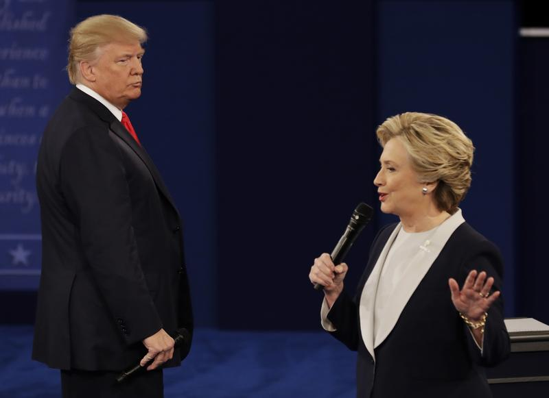 Donald Trump and Hillary Clinton at Sunday's Presidential Town Hall in St. Louis, Missouri. October 9, 2016.