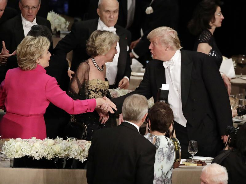 Hillary Clinton shakes hands with Donald Trump at the 71st Annual Alfred E. Smith Memorial Foundation Dinner.