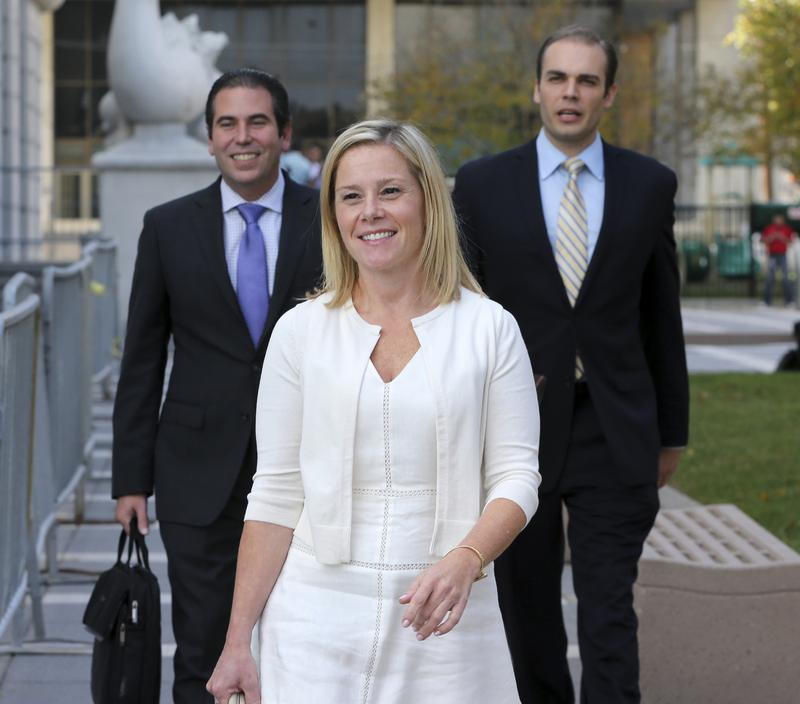 Bridget Anne Kelly, center, leaves the federal courthouse in Newark last week after testifying in the Bridgegate trial.