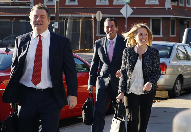 Defendant Bridget Kelly, right, arrives at the federal courthouse in Newark for the final day of the Bridgegate trial.