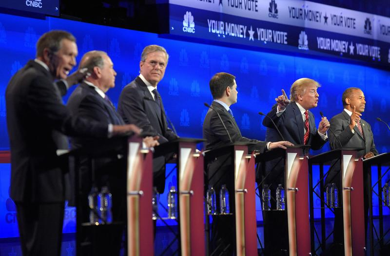 Ohio Gov. John Kasich, former Arkansas Gov. Mike Huckabee, former Florida Gov. Jeb Bush, Sen. Marco Rubio, R-Fla., Donald Trump and Ben Carson, participate in a debate for Republican presidential hope