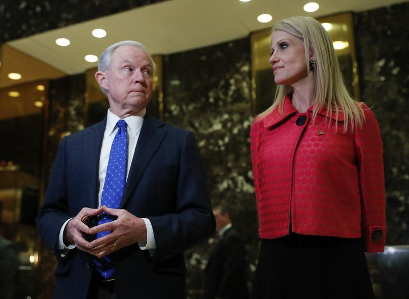 Sen. Jeff Sessions, R-Ala. and Kellyanne Conway, campaign manager for President-elect Donald Trump, speaks to reporters at Trump Tower.