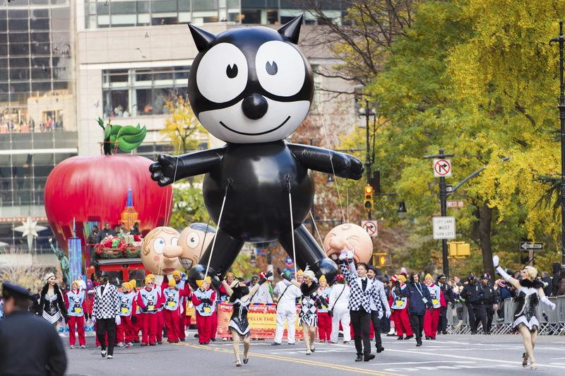 A Felix The Cat balloon is seen on 59th Street during the Macy's Thanksgiving Day Parade on Thursday, Nov. 24, 2016, in New York.