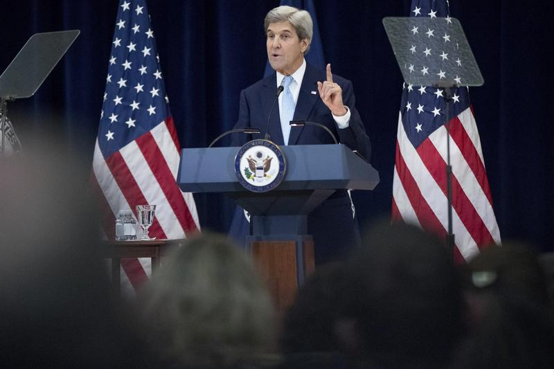 Secretary of State John Kerry speaks at the State Department in Washington, Wednesday, Dec. 28, 2016.