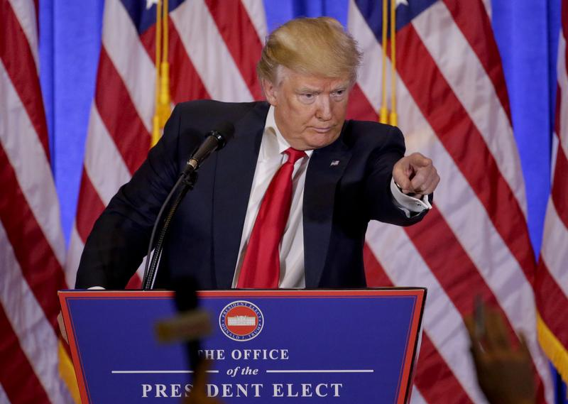 President-elect Donald Trump takes questions during a news conference, Wednesday, Jan. 11, 2017, in New York.