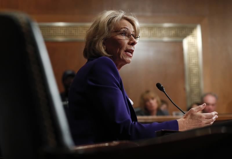 Education Secretary-designate Betsy DeVos testifies on Capitol Hill in Washington, Jan. 17, 2017, at her confirmation hearing before the Senate Health, Education, Labor and Pensions Committee.