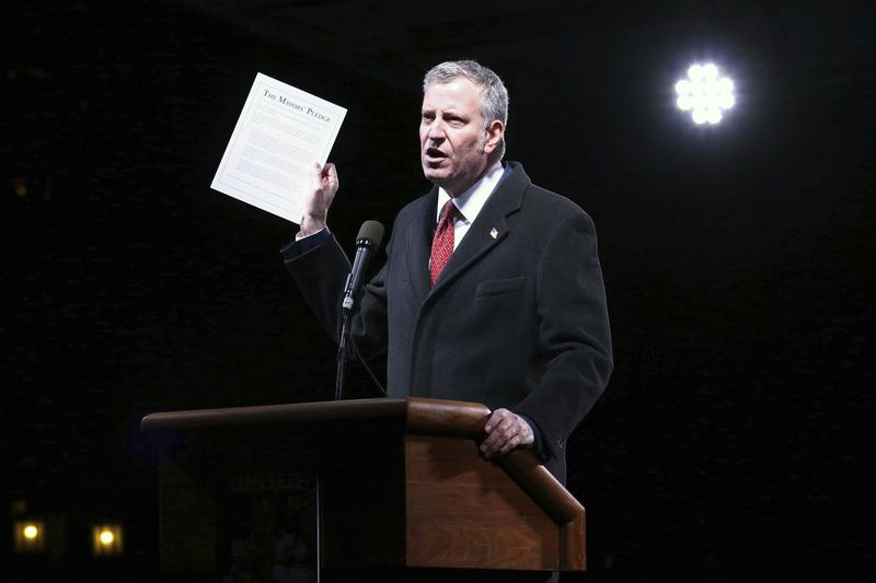 "Mayor Bill de Blasio participates in the ""We Stand United: New York Rally to Protect Shared Values"" on Thursday, Jan.19, 2017."