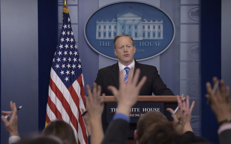 White House press secretary Sean Spicer speaks during the daily briefing, Tuesday Jan 24th