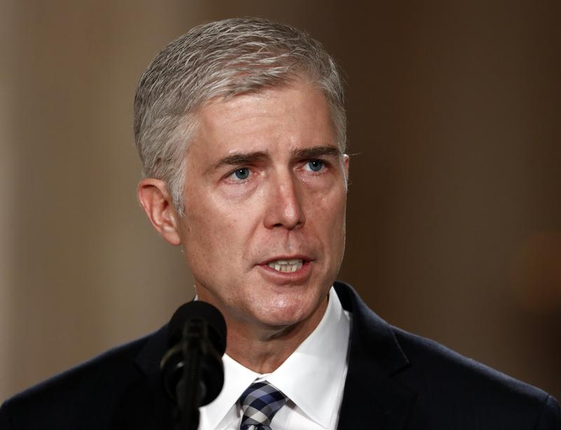 Judge Neil Gorsuch speaks in the East Room of the White House in Washington, Tuesday, Jan. 31, 2017, after President Donald Trump announced Gorsuch as his nominee for the Supreme Court.