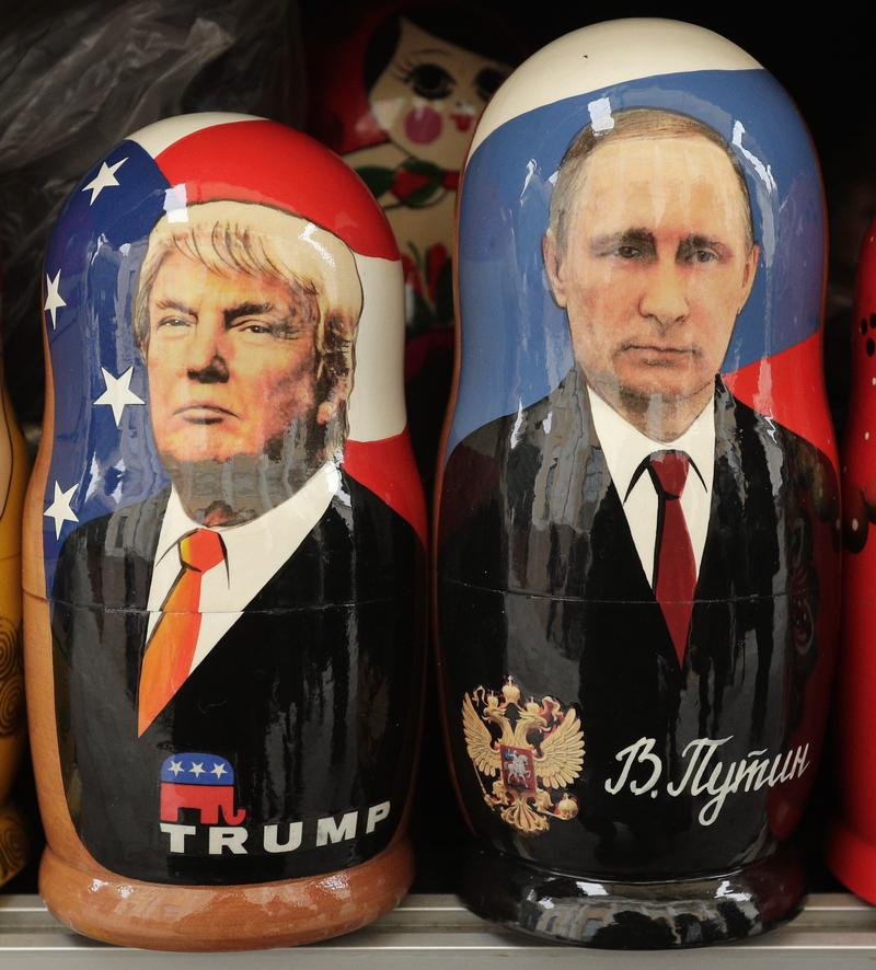Feb. 20, 2017: Traditional Russian wooden dolls depicting US President Donald Trump and Russian President Vladimir Putin are displayed for sale at a souvenir street shop in St. Petersburg, Russia.