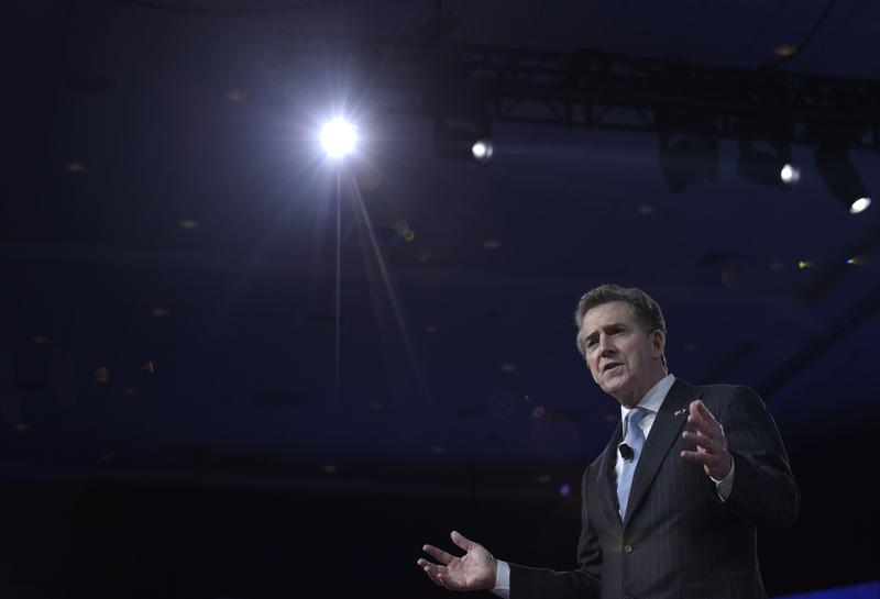 Former Heritage Foundation President Jim DeMint on stage at the 2017 Conservative Political Action Conference.