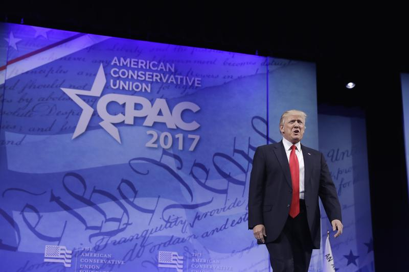 President Donald Trump arrives to speak at the Conservative Political Action Conference (CPAC)  Feb. 24, 2017.