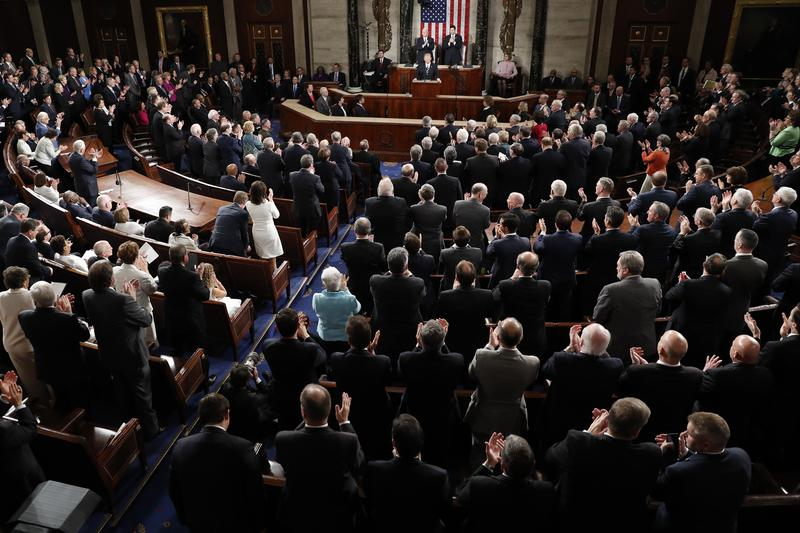 President Donald Trump is applauded as he addresses a joint session of Congress on Capitol Hill in Washington, Tuesday, Feb. 28, 2017.