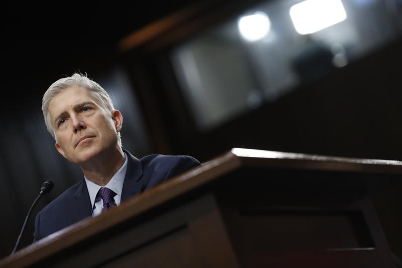 Supreme Court Justice nominee Neil Gorsuch testifies on Capitol Hill in Washington, Tuesday, March 21, 2017, at his confirmation hearing before the Senate Judiciary Committee.
