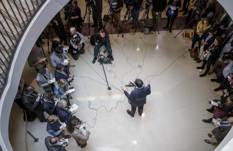 House Intelligence Committee Chairman Rep. Devin Nunes, R-Calif., gives reporters an update about the ongoing Russia investigation, Wednesday, March 22, 2017, on Capitol Hill in Washington.