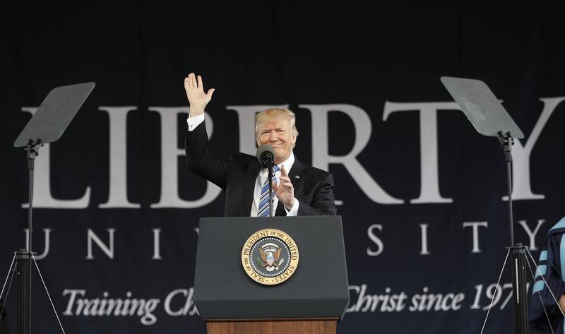 President Donald Trump gives the commencement address for the Class of 2017 at Liberty University in Lynchburg, Va., Saturday, May 13, 2017