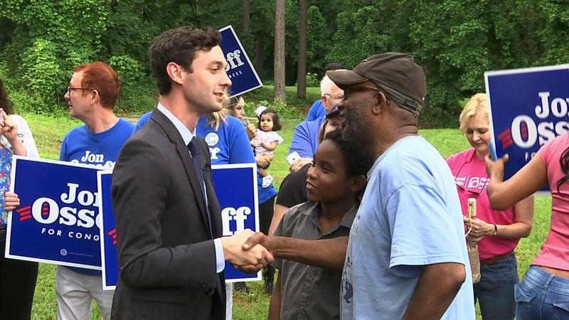 Democrat Jon Ossoff greets supporters in Georgia's historically-Republican 6th Congressional District.