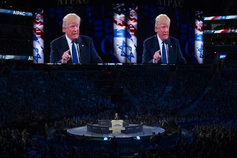 Republican presidential candidate Donald Trump speaks at the 2016 American Israel Public Affairs Committee (AIPAC) Policy Conference at the Verizon Center, on Monday, March 21, 2016.