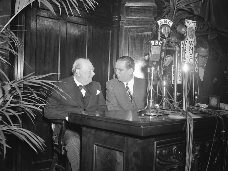 Former British Prime Minister Winston Churchill, chats with Mayor William O'Dwyer, in the Council Chamber of New York City's Hall on March 15, 1946 after being officially welcomed.