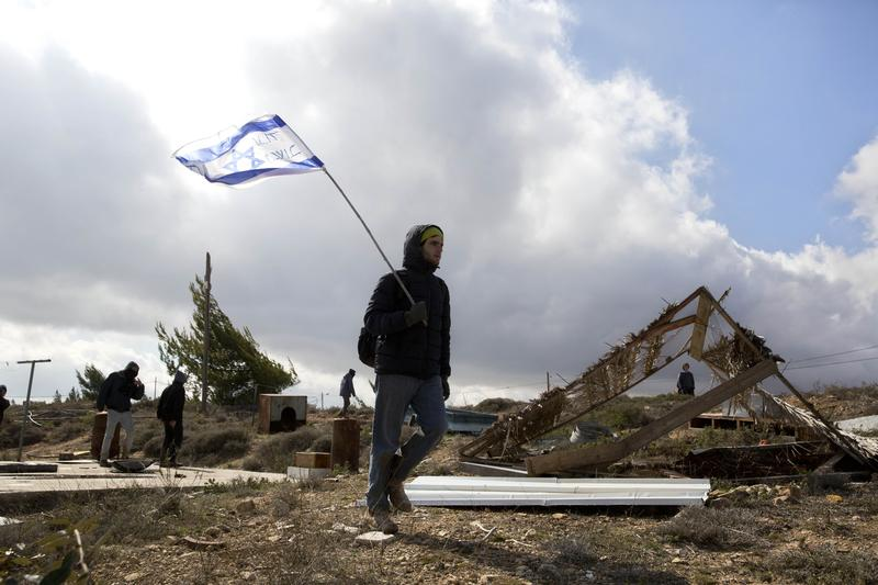 A settler in the West Bank outpost of Amona, which was evacuated by the Israeli government on Wednesday February 1st