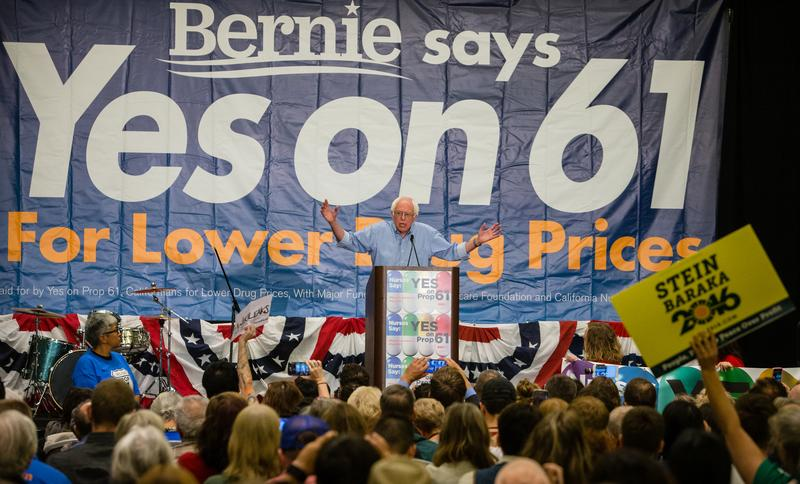 Bernie Sanders addresses the Yes on 61 Press Conference, on Sat. Oct. 15, 2016 in San Francisco, CA at the Marriott Marquis.