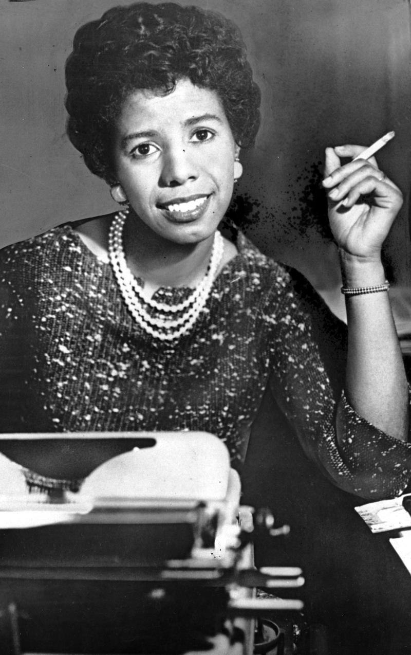 "Lorraine Hansberry, 28-year-old playwright who won the Drama Critics' Award for her first play ""A Raisin in the Sun,"" poses in New York City on April 7, 1959."