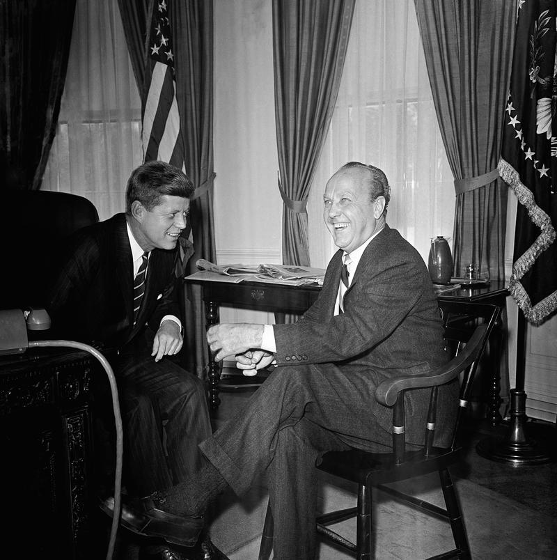William Randolph Hearst, jr., editor-in-chief of the Hearst Newspapers, while visiting President Kennedy in his White House office, Washington, Feb. 9, 1961.
