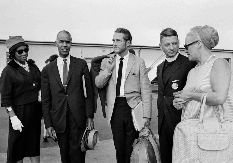 Singer Marian Anderson; Roy Wilkins, of the NAACP; actor Paul Newman; Rev. Robert Spike of the National Council of Churches in New York City; and actress Faye Emerson, August 27, 1963.