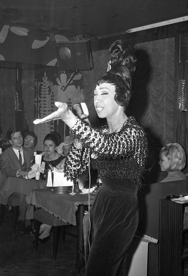 "Entertainer Josephine Baker is shown in this December 3, 1964 photo as she performs at cabaret ""Madeleine"" in Munich, Germany."