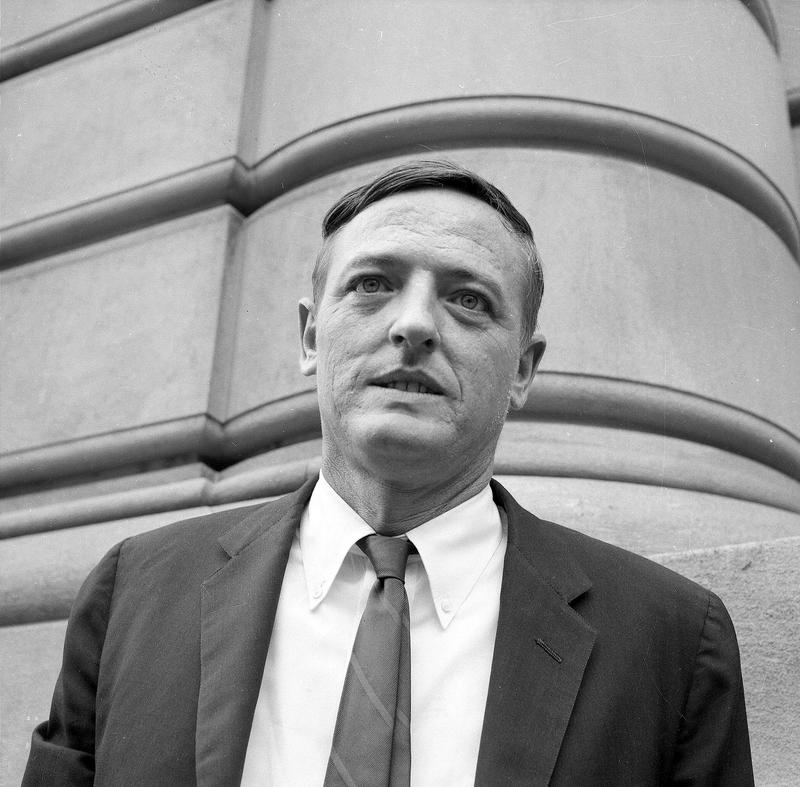 William F. Buckley, Jr., Conservative Party candidate running for the office of Mayor of New York City, is shown outside the Overseas Press Club on Oct. 20, 1965.