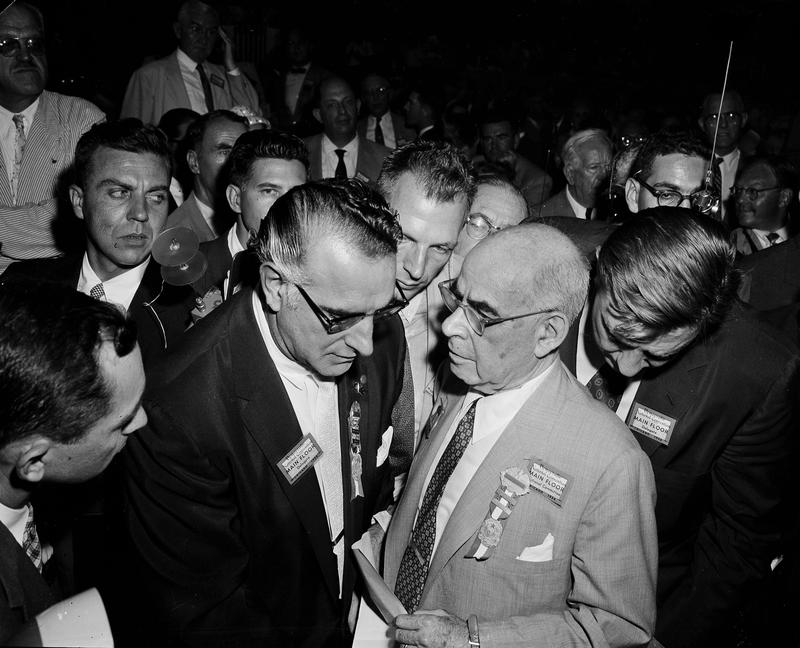 Carmine DeSapio, chairman of the New York delegation, left, and Sen. Herbert H. Lehman at the Democratic National Convention, August 15, 1956.