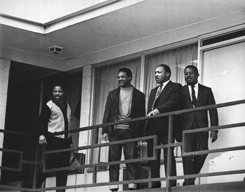 The Rev. Martin Luther King Jr. stands with other civil rights leaders on the balcony of the Lorraine Motel in Memphis, Tenn., on April 3, 1968, a day before he was assassinated.