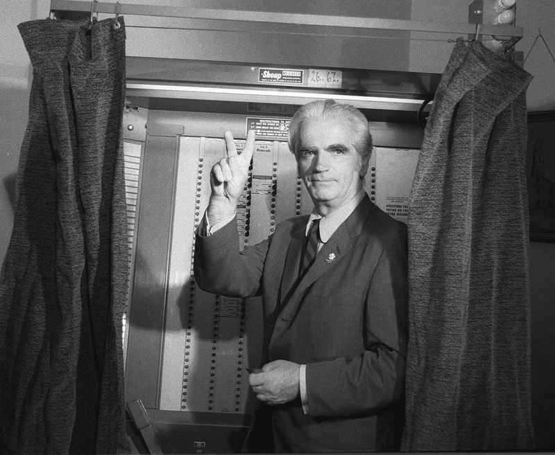 Democratic candidate in primary Paul O'Dwyer is shown voting and giving a victory sign, at his voting place in New York City in this June 23, 1970 photo.
