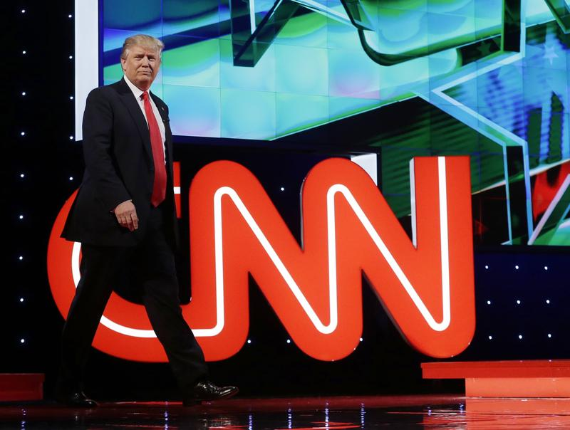 President-elect Donald Trump entering a Republican presidential debate sponsored by CNN in March