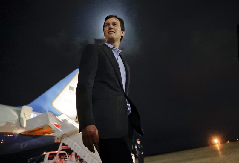 White House senior adviser Jared Kushner walks across the tarmac after stepping off Air Force One at Andrews Air Force Base, Md., Sunday, May 7, 2017.