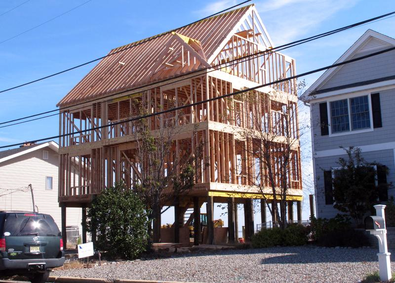 An elevated house being rebuilt following Superstorm Sandy in Toms River, N.J, October 21, 2015