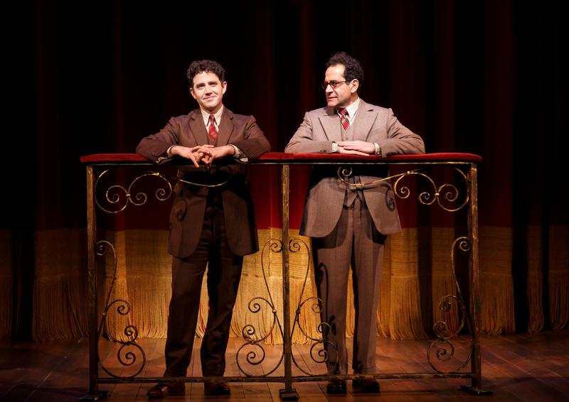 "Santino Fontana and Tony Shalhoub in a scene from Lincoln Center Theater's production of ""Act One,"" a play written and directed by James Lapine, at the Vivian Beaumont Theater."